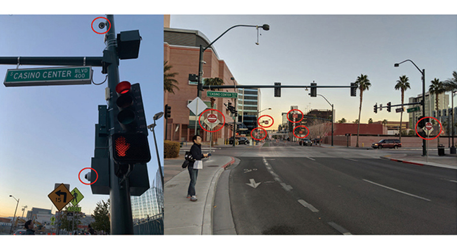 Fig. 3. Video cameras and road signs in the Innovation District of downtown Las Vegas.